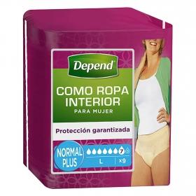 Braga incontinencia mujer Absorción Normal Talla L Depend 9 ud.