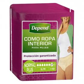 Braga incontinencia mujer Absorción Normal Talla S/M Depend 10 ud.