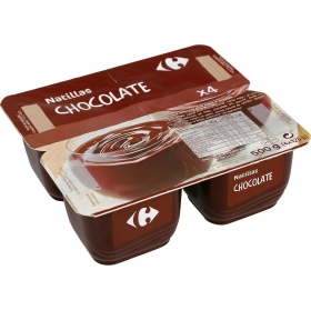 Natillas de chocolate Carrefour pack de 4 unidades de 125 g.