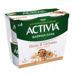 Yogur bífidus de fibras con avena y nueces Danone Activia pack de 4 unidades de 120 g.