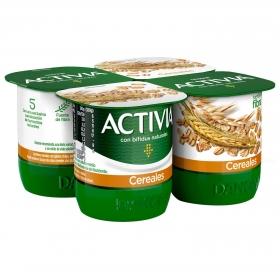 Yogur bífidus de fibras con cereales Activia pack de 4 undiades de 120 g.