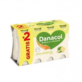 Yogur líquido de lima-limón Danone Danacol pack de 6 unidades de 100 g.