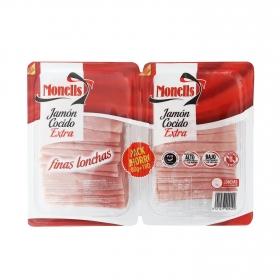 Jamón cocido extra en lonchas Monells sin gluten y sin lactosa pack de 2 unidades de 180 g.