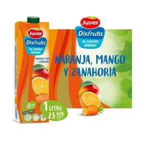 Zumo de naranja, mango y zanahoria Juver-Disfruta Exótico sin azúcar añadido botella 1 l.