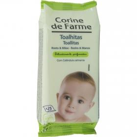 Toallitas rostro y mano para bebés Corine de Farme 25 ud.