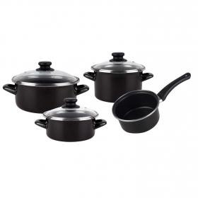 Bateria de Cocina Clásica de Acero MAGEFESA Kenia 7 piezas - Negro