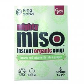 Sopa de miso con tofú y jenjibre ecológica King Soba pack de 6 sobres de 60 g.