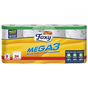 Papel higiénico Mega 3 Foxy 6 rollos.