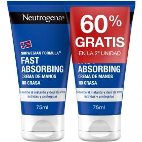 Crema de manos rápida absorción Neutrogena pack de 2 unidades de 75 ml.