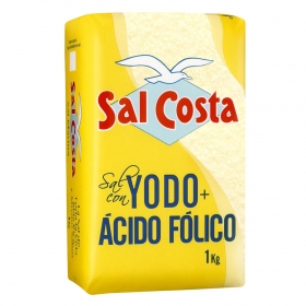 Sal yodada con ácido fólico Sal Costa 1 kg.