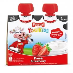 Yogur de fresa Yogikids Pascual en bolsitas pack de 2 unidades de 80 g.