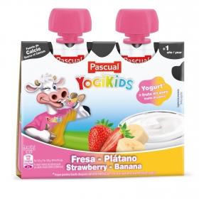Yogur de fresa y plátano Yogikids Pascual en bolsitas pack de 2 unidades de 80 g.