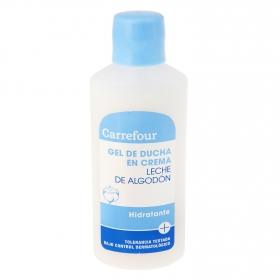 Gel de ducha en crema Leche de algodón para viajes Carrefour 75 ml.
