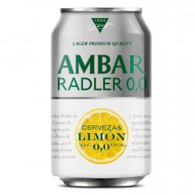 Cerveza Ambar Lemon 0,0 sin alcohol con limón lata 33 cl.