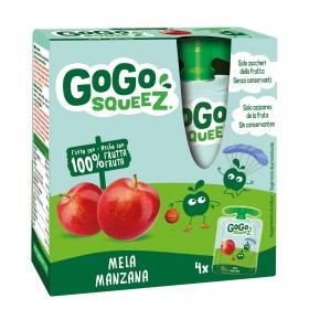 Preparado de manzana y melocotón Gogosqueez pack de 4 bolsitas de 90 g.