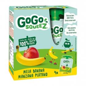 Preparado de manzana y plátano Gogosqueez pack de 4 bolsitas de 90 g.