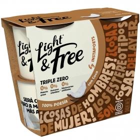 Yogur desnatado con coco Danone Light&free pack de 4 unidades de 115 g.