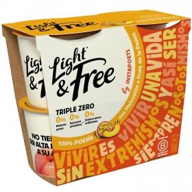 Yogur desnatado con melocotón y fruta de la pasión Danone Light&Free pack de 4 unidades de 115 g.