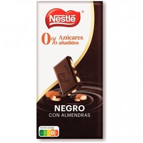 Chocolate negro con almendras Nestlé sin azúcar añadido 125 g.