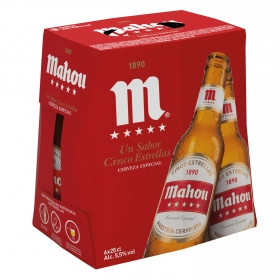 Cerveza Mahou 5 Estrellas especial pack de 6 botellas de 25 cl.