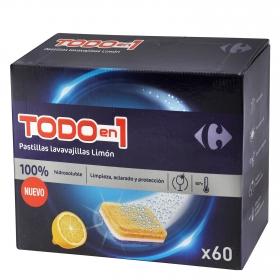 Lavavajillas máquina Todo en 1 aroma limón en pastillas Carrefour 60 ud.