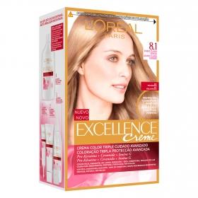 Tinte creme nº 8.1 Rubio Claro Ceniza L'Oréal Excellence 1 ud.