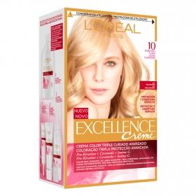 Tinte creme nº 10 Rubio Clarisimo Aclarante L'Oréal Excellence 1 ud.