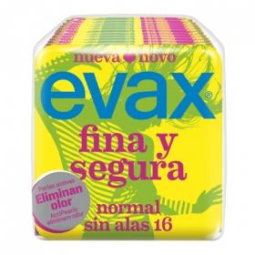 Compresas Normal Sin Alas Fina y Segura Evax 16 ud.