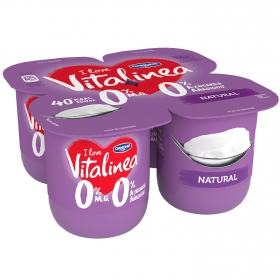 Yogur desnatado 0% azúcares añadidos natural Danone - Vitalinea pack de 4 unidades de 125 g.