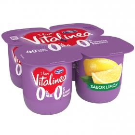 Yogur desnatado de limón Danone Vitalinea pack de 4 unidades de 125 g.