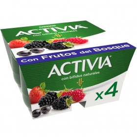 Yogur bífidus con frutos del bosque Danone Activia pack de 4 unidades de 125 g.