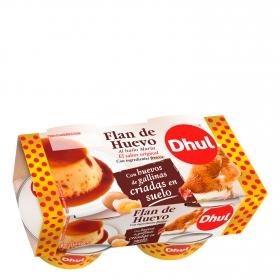 Flan de huevo al baño María Dhul pack de 4 unidades de 110 g.