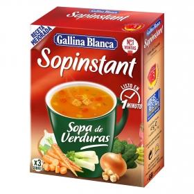 Sopa de verduras con picatostes Sopinstant Gallina Blanca pack de 3 unidades de 20 g.