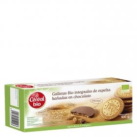 Galletas bio integrales de espelta bañada en chocolate ecológico