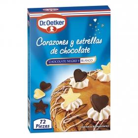 Corazones y estrellas de chocolate
