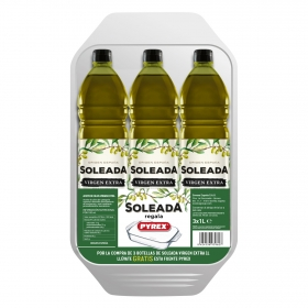 Aceite de oliva virgen extra Soleada pack de 3 botellas de 1 l.