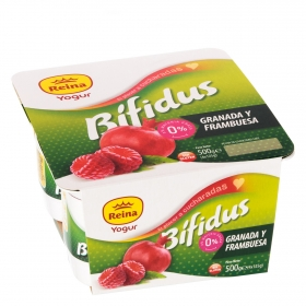 Yogur bífidus desnatado de granada y frambuesa Reina sin gluten pack de 4 unidades de 125 g.