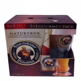 Cerveza Franziskaner Weissbier Naturtrüb pack de 5 botellas de 50 cl. + Copa
