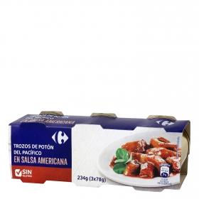 Trozos de potón del Pacífico en salsa americana Carrefour sin gluten pack de 3 unidades de 51 g.
