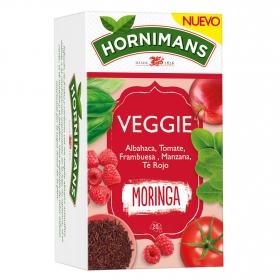 Infusión Veggie Moringa con albahaca, tomate, frambuesa, manzana y te rojo en bolsitas Hornimans 20 ud.
