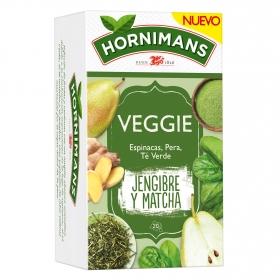 Infusión de espinacas pera y té verde en bolsitas Veggie Jengibre y Matcha Hornimans 21 ud.