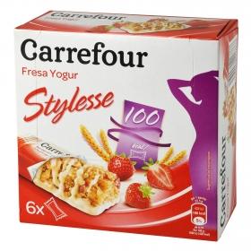 Barritas de cereales con yogur y fresa Carrefour 125 g.