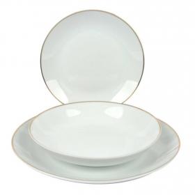 Vajilla 18 Piezas de Porcelana Ricard Camarena Blanco Filo Oro
