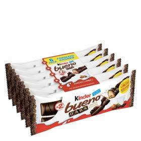Barrita de chocolate negro relleno de crema de avellanas Kinder Bueno pack de 6 unidades de 43 g.