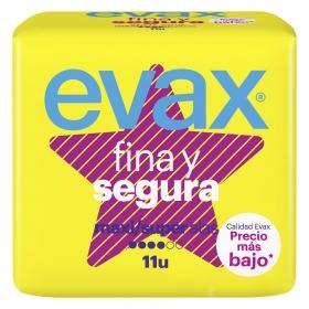 Compresas Fina y segura maxi/super con alas Evax 11 ud.