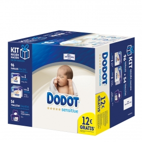 Kit recién nacido Pañal T1 (2-5 kg) 28 ud. + T2 (4-8 kg ) 2x34 ud. + toallitas 54 ud.