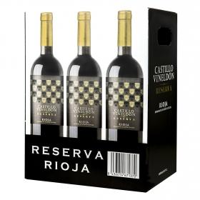 Vino D.O. Rioja tinto reserva Castillo Vineldón pack 6x75 cl.
