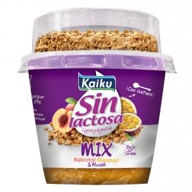 Yogur de melocotón, maracuyá y muesli Mix Kaiku sin lactosa 175 g.