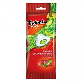 Chicles sabor fresa y limón Splash Trident 3 paquetes de 20 g.