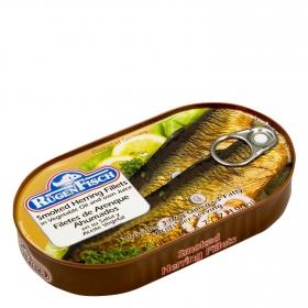 Arenques ahumados en aceite vegetal Rügen Fisch 145 g.